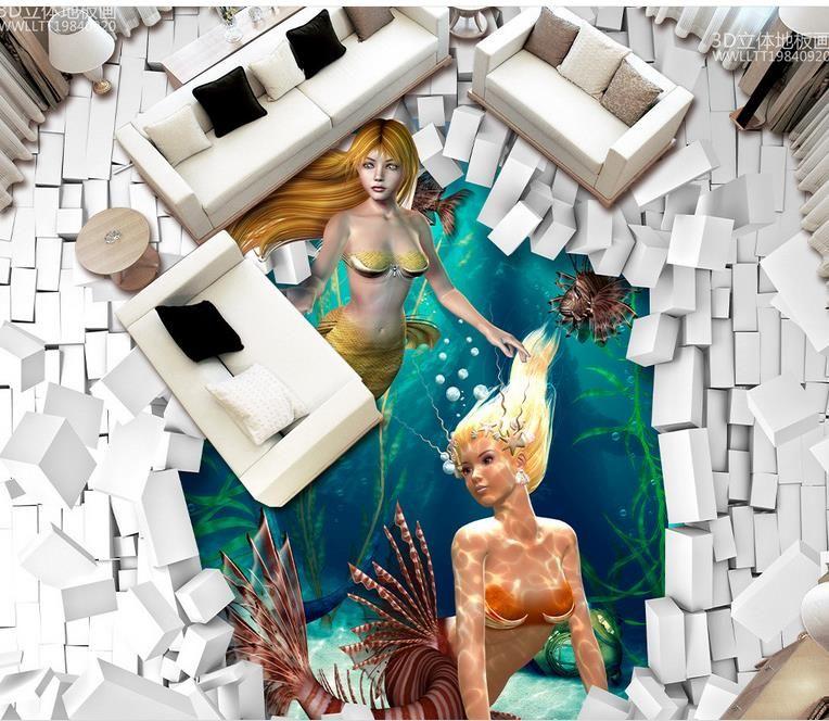 Vinyl-Bodenbelag Klebstoffe Underwater World Mermaid 3D dreidimensionale Malerei PVC-Tapete für den Boden