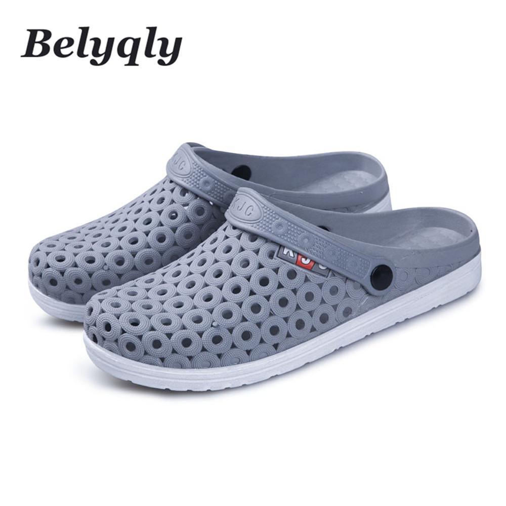 Acheter Belyqly Hommes Sandales Chaussures De Randonnée Casual Plage Hommes  Trou Chaussons Boucle En Plastique Sangle Homme Chaussures Size40 44 De   38.69 ... eceabbfacda