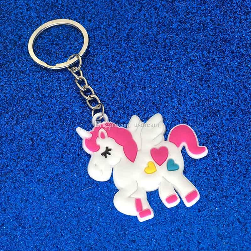 PVC Unicorn Keychain Key Ring Chains Cute Horse Pony Bag Hang Pendant Plastic Fashion Accessories for Women Jewelry Gifts DROP SHIP 340006