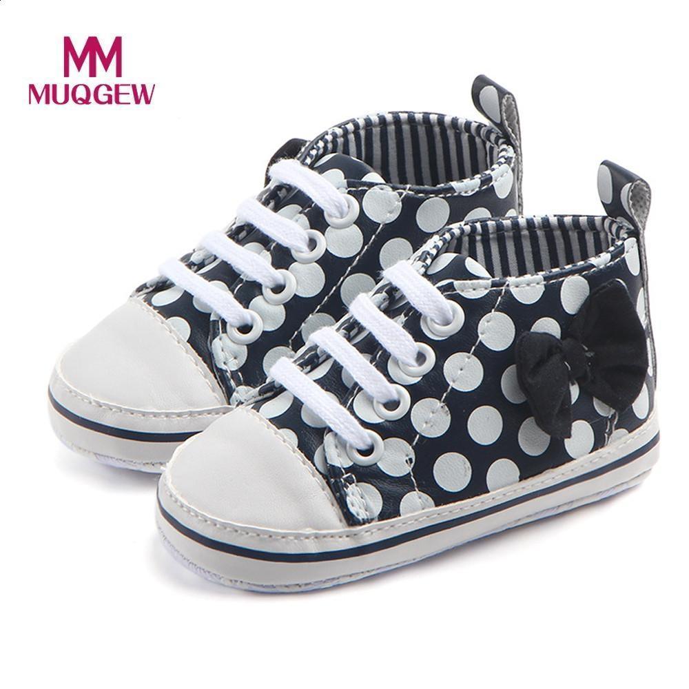 Moda Zapatos Nuevo Niños Dot Primavera Bebés Pu Antideslizantes Con 2018 Bebé Bowknot Cordones Para Imprimir Zapatillas Muqgew l1FcKJ