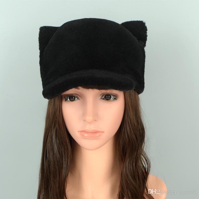 27784a93 new fur baseball cap cat ears sheep fur hats wool ladies hat cute real fur  winter woman caps Gorras Para Hombre