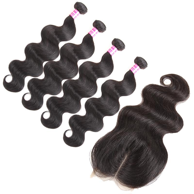 Hot brazilian virgin hair body wave with 4x4 lace closure unprocessed peruvian virgin hair Cheap Human Hair Extensions