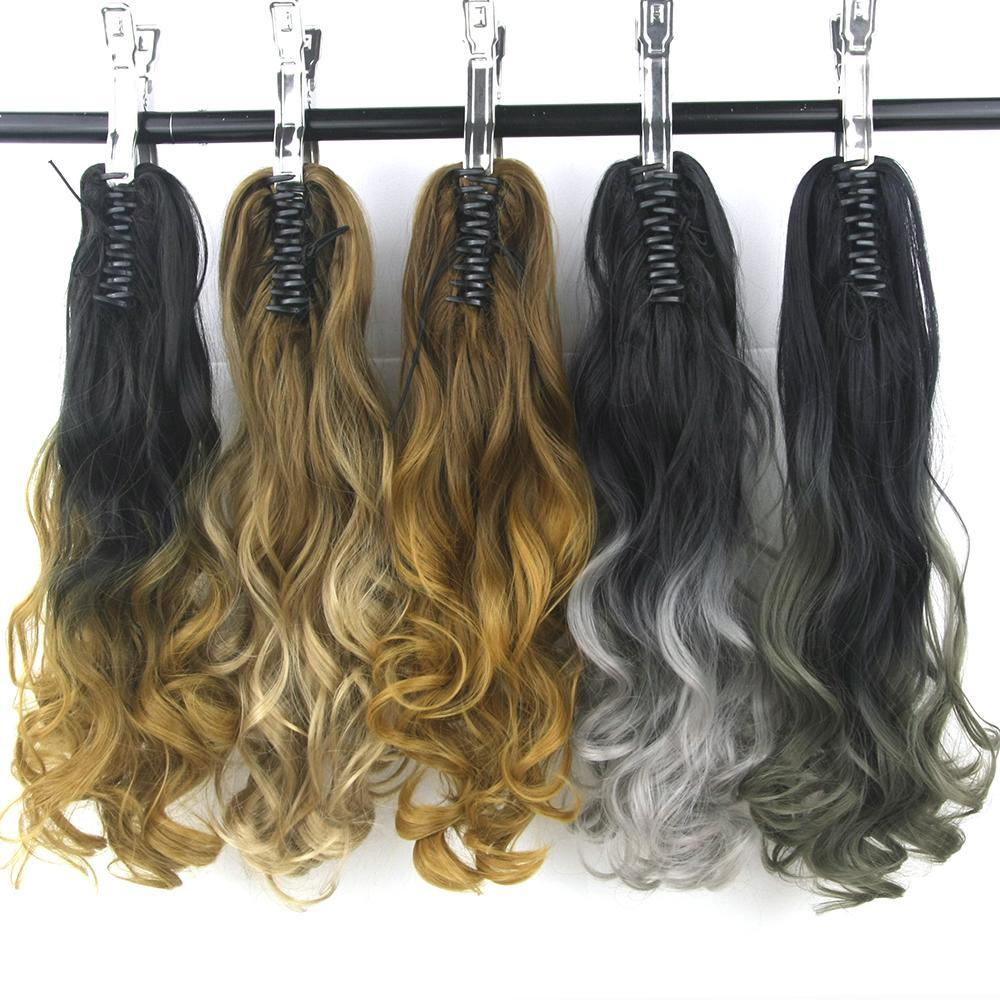 Synthetische Haarverlängerung Soowee Lange Wellenförmige Blonde Ombre Klaue Pferdeschwanz Synthetische Haar Clip In Haarverlängerung Haarteil Pferdeschwanz Queue De Cheval