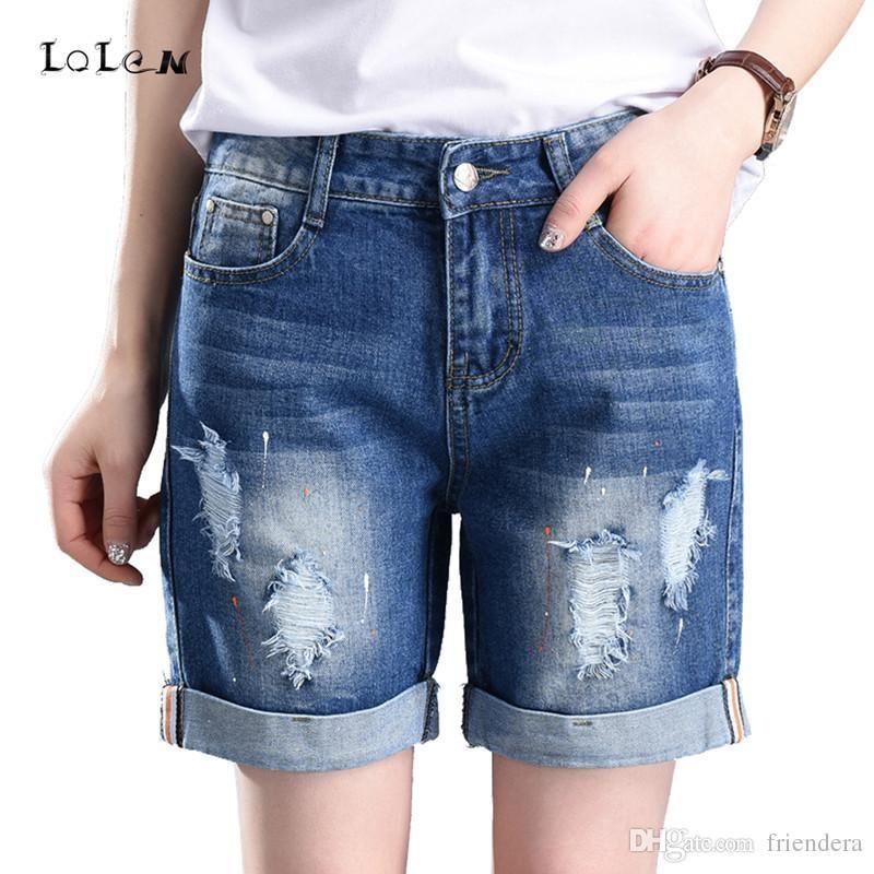 36d43f85cb8d6 Wholesale- Plus Size Denim Shorts Straight Loose Hole Jeans for ...