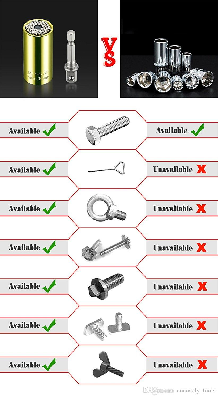 Universal Socket Set Professional Repair Hand Tool, 1x 7-19mm Ratchet Hex Metric Wrench Socket Power Drill Extension Bit