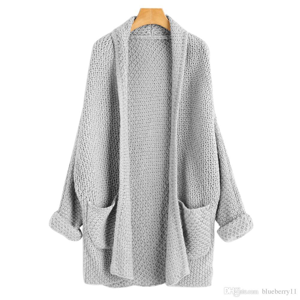 Automne Mode Cardigan Long Cardigans Femmes Batwing Chandails De Avant Manches Tricoté Pull Casual Ouvert Noir Curled 8OvN0wnm