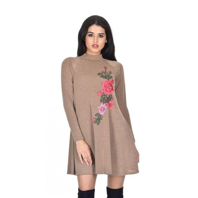 44b77c72b1 Flower Print Drop Waist A Line Dress Long Sleeve Round Neck Cut Out Back  Floral Cute Dresses White Floral Dresses Dresses Clothing From Caicaijin03,  ...