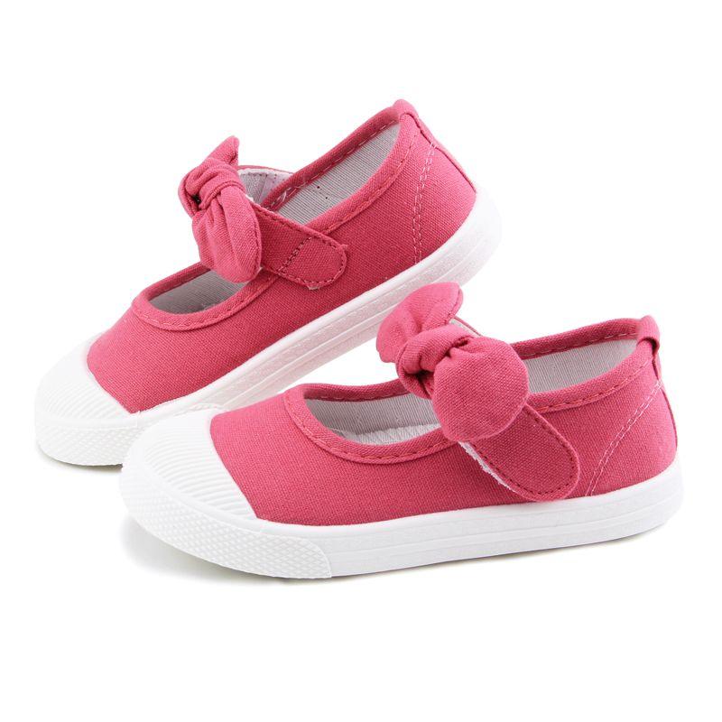 50da54c13 Compre Sapatas Da Menina Do Bebê Da Lona Sapatos Casuais Crianças Com  Bowtie Bow Nó Sólida Doce Cor Meninas Sneakers Crianças Sapatos Macios 21  30 De ...