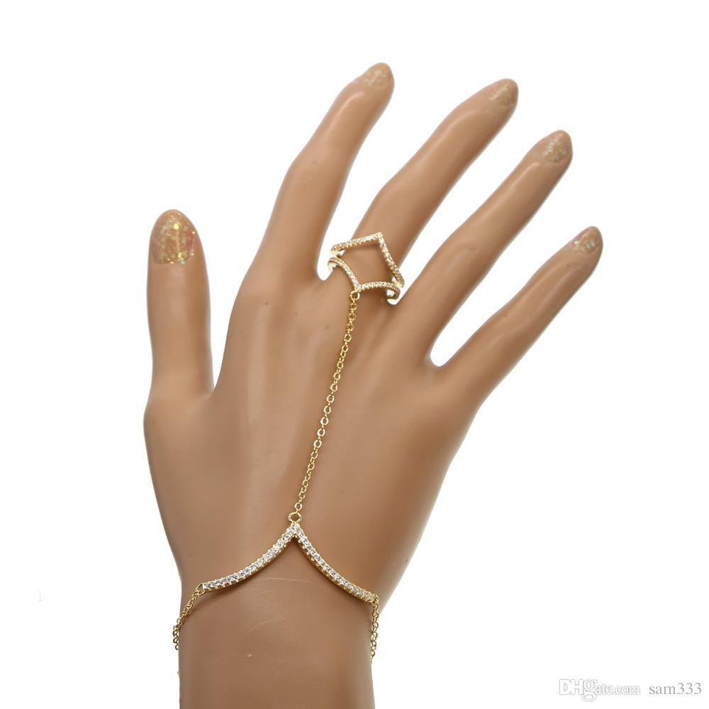 Fashion finger hand chain slave women New Multi Chain Punk style Finger Bangles & bracelet For Women V shape bracelets 2018