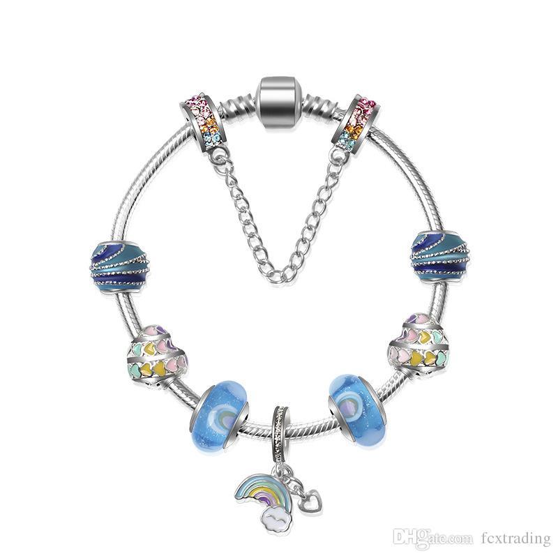 4c6240ec8 925 Silver Rainbow Pendant For Pandora European Bracelets Charm Beads  Bangle Valentines And Christmas Gift Diy Jewelry With Box Charm Bracelets  For Men 925 ...