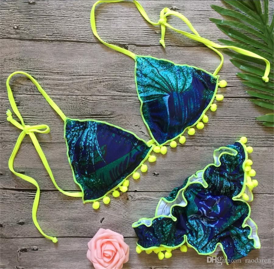 Women Swimwear Sexy Bikini 2018 Swimsuit Beachwear Swim Suit Beach Wear High Waist Flower Print Tassel Green
