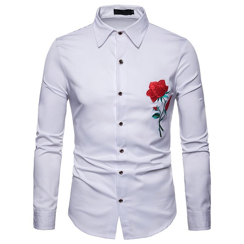 8e2883c238 Compre Camisas Hombre Bordado De Manga Larga Rosa Casual Clásico Sólido  Slim Fit Bussiness Blusa Camisas De Fiesta Masculina Camisa Masculina A   34.54 Del ...