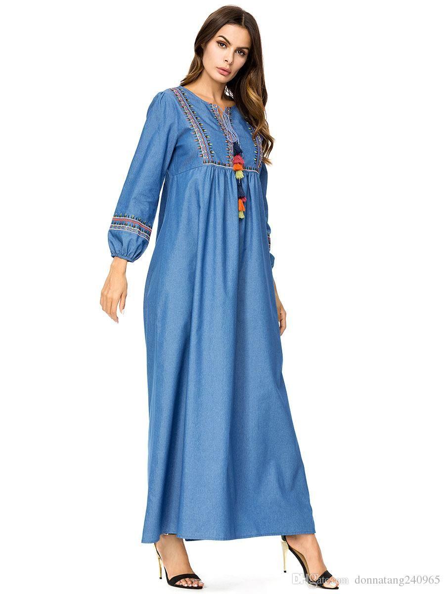 2019 2018 Autumn Middle East Muslim Women Fashion Denim Long Sleeve Casual  Loose Embroidery Jeans Long Dress Ramadan Eid Robe Ethnic Clothing From  Dujotree 7ae5a9e612cc