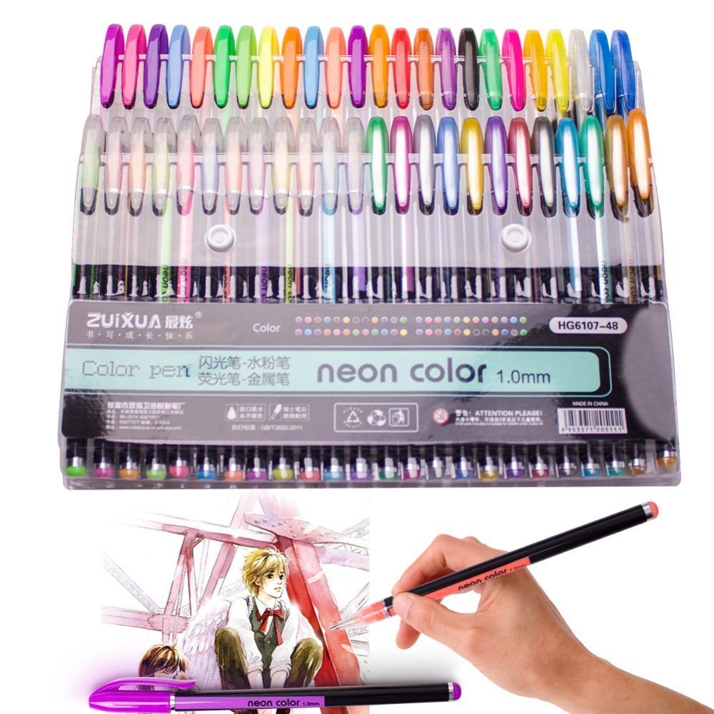 2018 Glitter Gel Pens Set Art Gel Markers Pen For Adult Doodling