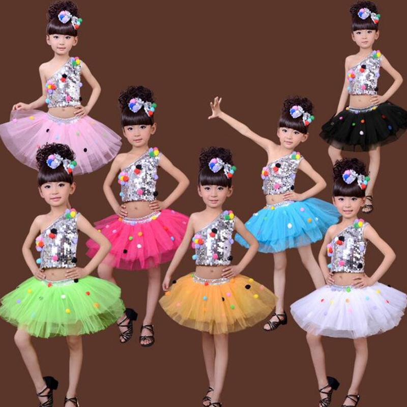 f592e166e488 7 Colors Kids Sequined Jazz Tap Modern Dancewear Dress Girls Ballroom Party  Show Dance Costume Children's dancing Outfits