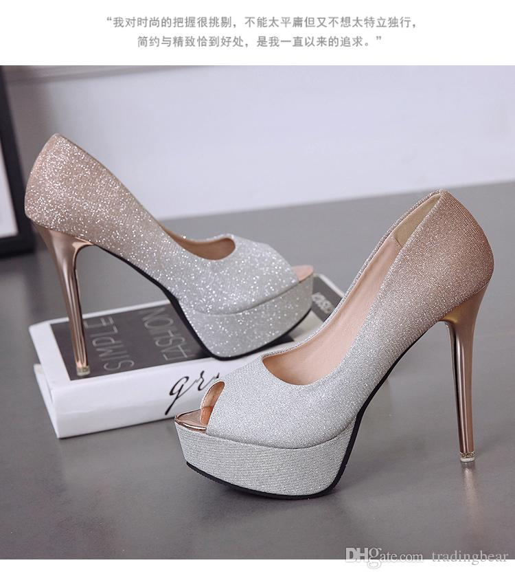 Gladient color silver champagne peep toe platform pumps glitter wedding shoes prom gown dress shoes size 34 to 39