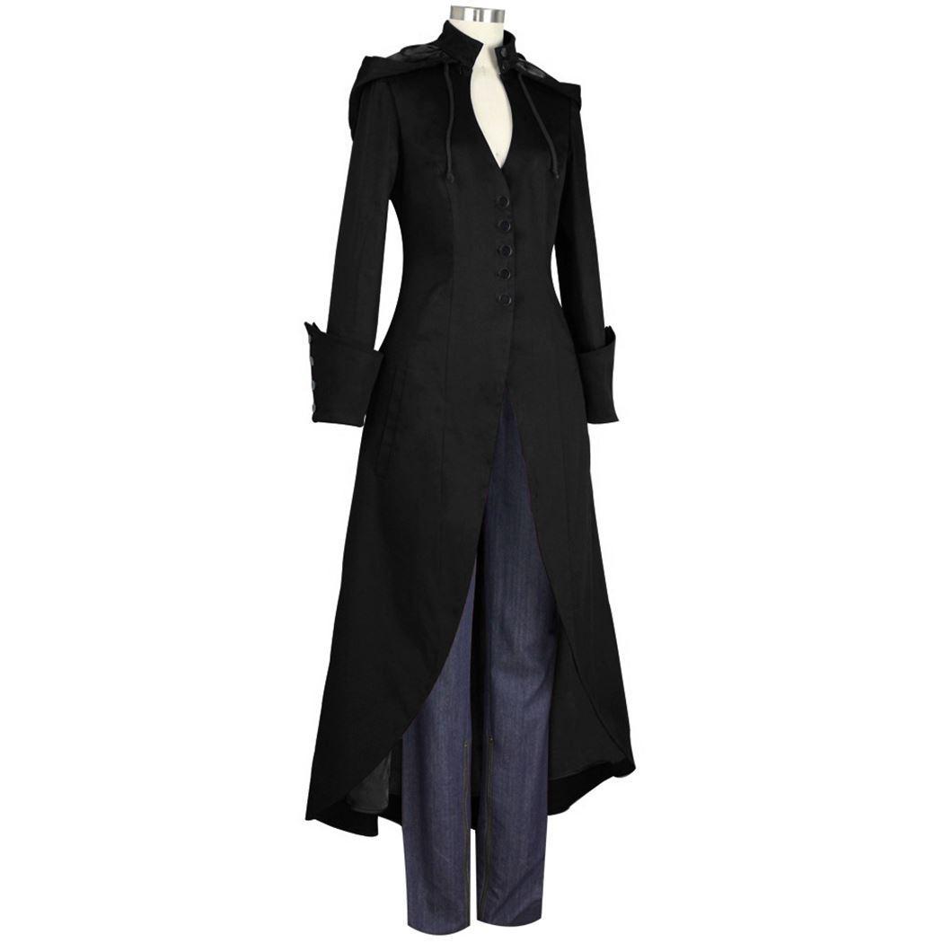 Médiéval Rétro Femmes À Capuche Manteau Steampunk Machaon Trench Manteaux Gothique Pardanus Cosplay Costume Outwear Dames Uniforme 4XL