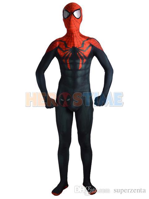 Newest Spiderman Costume black red fullbody spider-man costume Halloween cosplay spandex zentai Suit