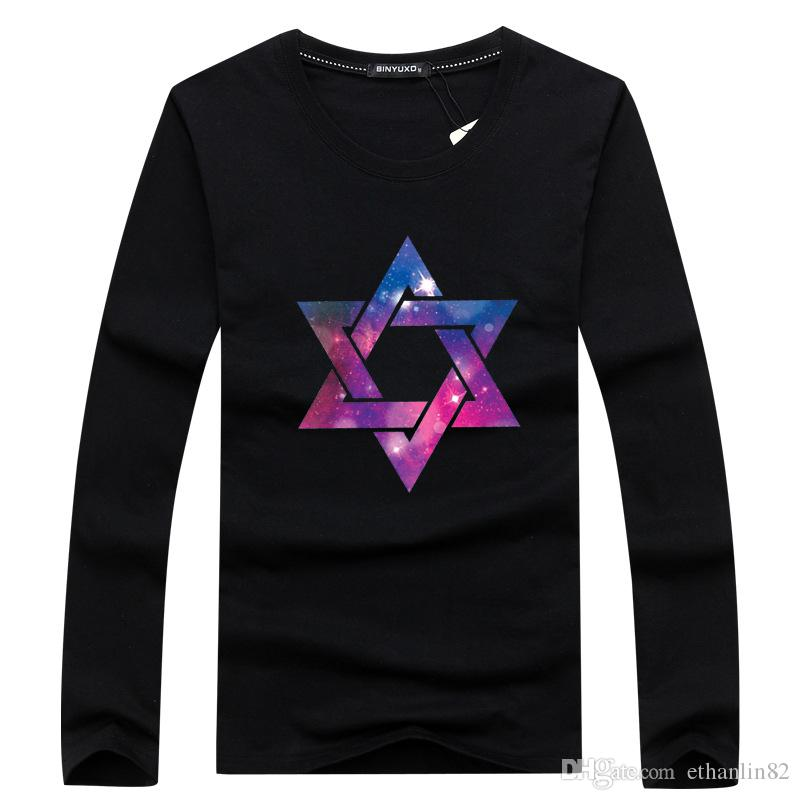 e157b0e84a04 Men Long Sleeve T Shirt Funny Design Fitness Shirt Male Autumn T Shirt Sit  Pointed Star Print Tee Shirts Casual 2018 Funny T Shirts For Men Make T  Shirts ...