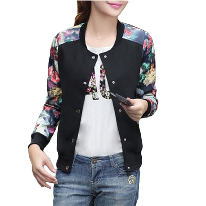 6d74b823b4c947 Women Jacket Brand Tops Flower Print Girl Plus Size Casual Baseball  Sweatshirt Button Thin Bomber Long Sleeves Coat Jackets Online with   38.63 Piece on ...
