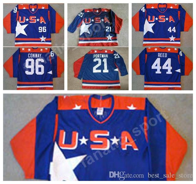 03678a601 Movie USA Hockey Jerseys Ice 96 Charlie Conway 21 Dean Portman 44 ...