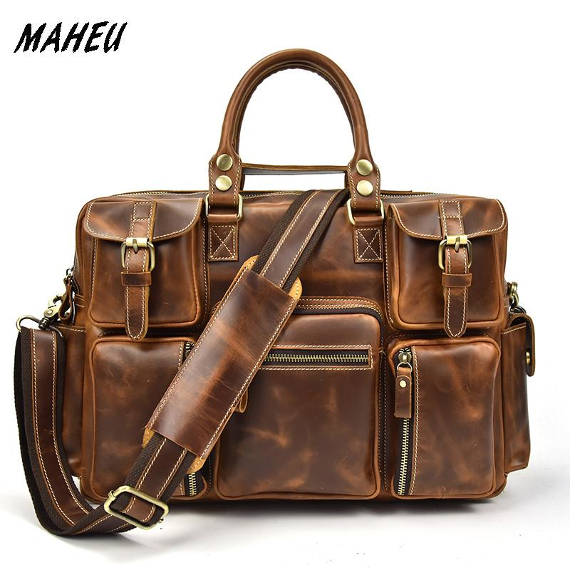 d08f4d90bc New Fashion Genuine Leather Handbag Men Top Grade Travel Briefcase 16 Large  Capacity Business Bag Men Cow Leather Laptop Bags Online Bags Briefcase For  ...