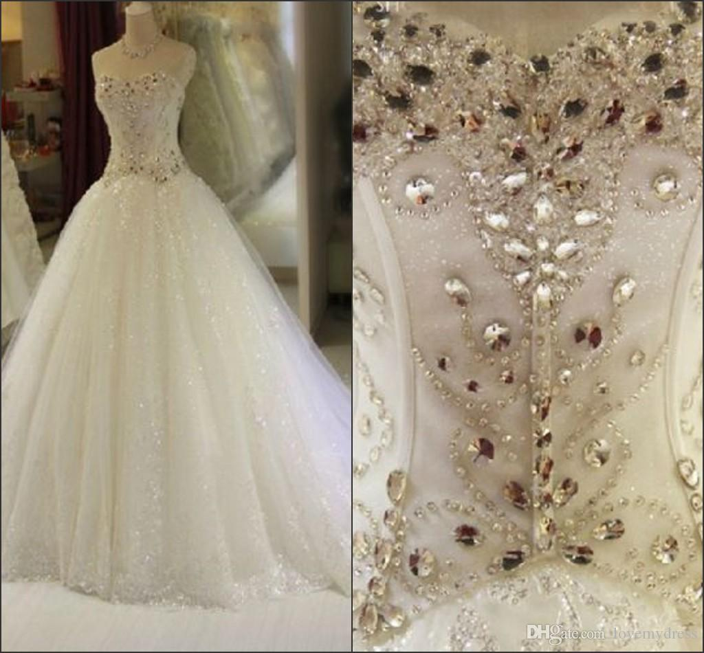 Gorgeous Crystal Beading Ball Gown Wedding Dresses Chapel Train Strapless  Open Back Lace Up Bling Tulle Skirt Wedding Gowns Bridal Dress Knee Length  Wedding ... 53f3aca3ba86