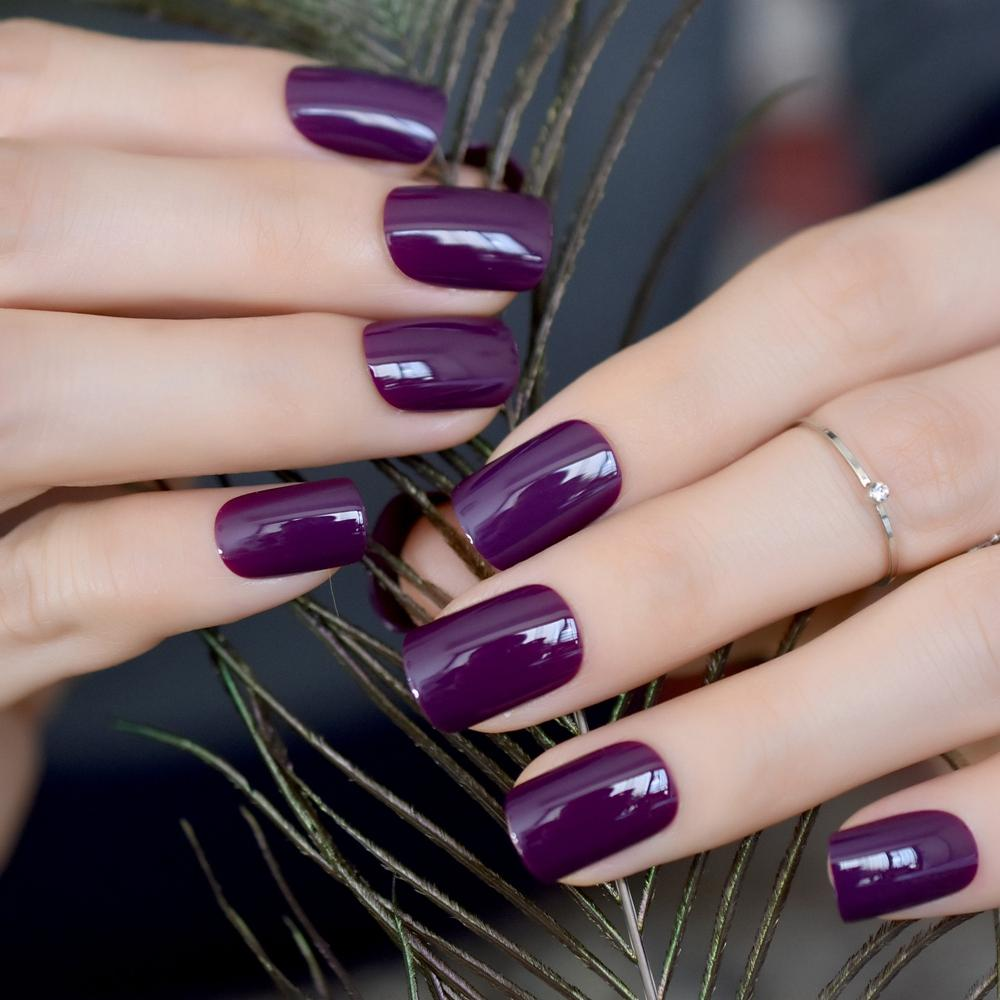 Candy Short Full Nail Art Tips Dark Purple Women Wear False