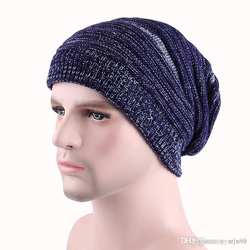 d69b37e504b 2017 Newsest Winter Warm Casual Knit Hats For Men Baggy Beanie Hat Crochet  Slouchy Oversized Ski Cap Slouchy Beanie Crochet Pattern Baby Boy Hats From  ...