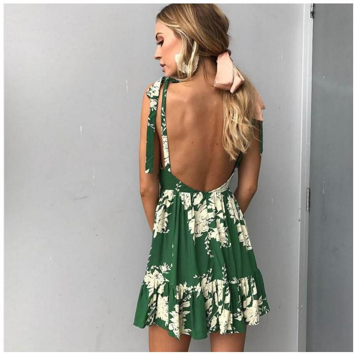 2018 new women Casual skirt print dress summer deep V collar dress casual cute sexy mini short dress women ladies