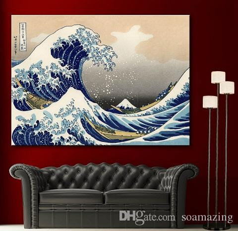 Framed High Quality Katsushika Hokusai The Great Wave off Kanagawa Decor Fine Home Wall Art Oil Painting On Canvas Various Sizes Sc055!