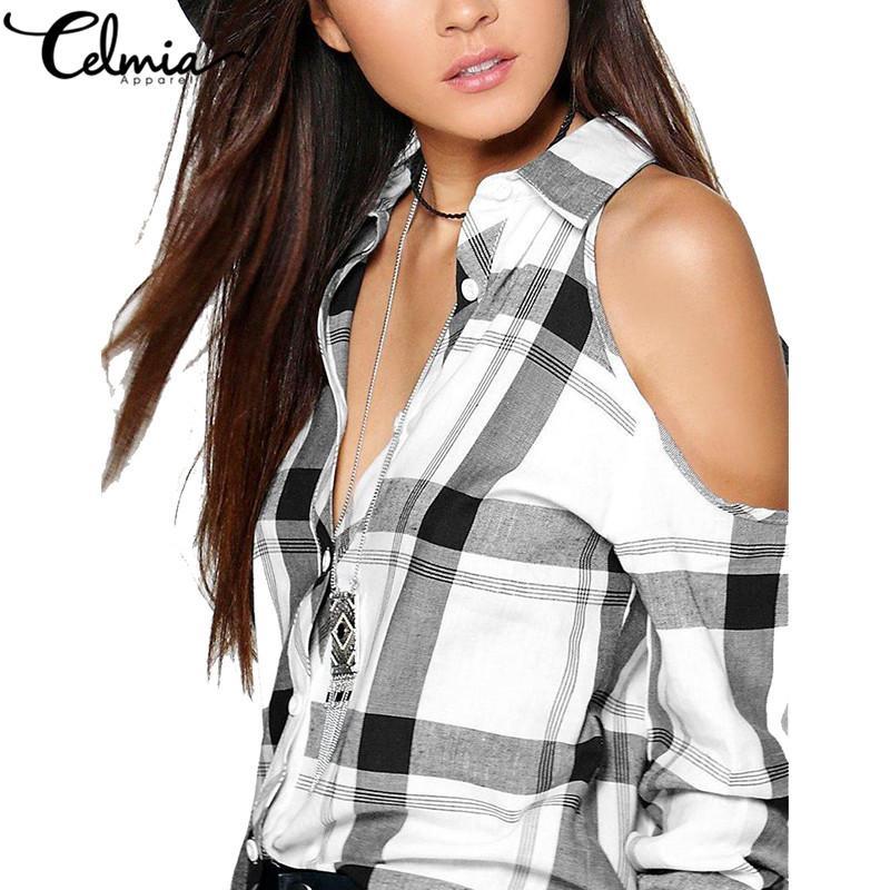 Celmia 2018 Sexy plaid con spalle scoperte Camicette da donna Camicie con risvolto a molla Maniche lunghe Checks Top Tees Casual Plus Size Blusas