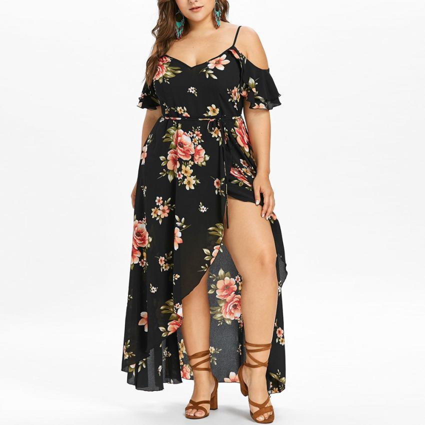 Plus Size Women Casual Bohemian style Short Sleeve Cold Shoulder Flower  Print Long Dress elegant Ladies dresses moda mujer