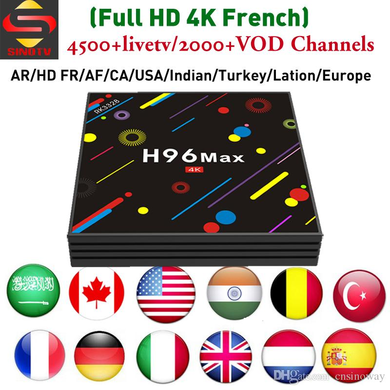 H96 MAX H2 4GB 64GB Lation IPTV Android 7 1 TV Box with SINOTV For Arabic  France UK Germany USA Poland Indian Channels
