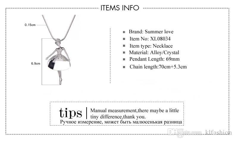 New Arrivals Elegant Ballet Dancer Angel Pendant Necklace Long Chain Austrian crystal Statement Necklace For Women Collier Bijoux Mujer Gift