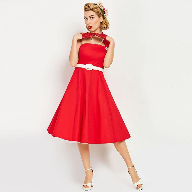 Jahre Solides Großhandel Frauen Wade Mitte Vintage1950er Kleid Rotes tQhsCBxrd