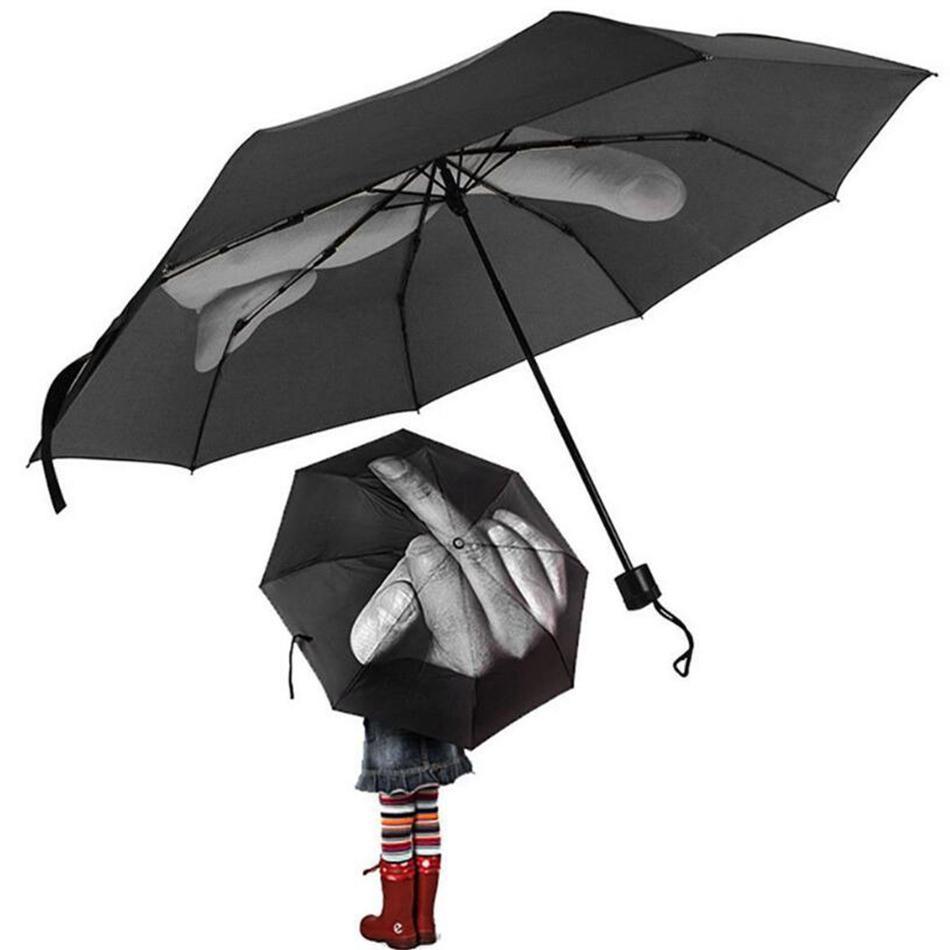 Ombrello da dito medio Pioggia Antivento in alto Ombrello Pieghevole creativo Ombrello Moda Impatto Ombrello nero OOA4505