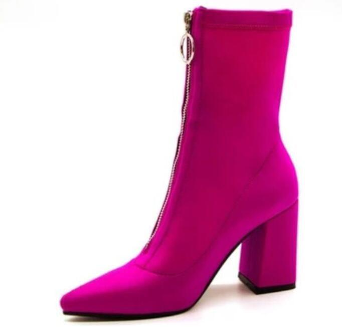 2018 novas mulheres botas roxas ponto botas de dedo do pé zip up botas chunky heel meias botas senhoras vestido sapatos gladiador mujer botas