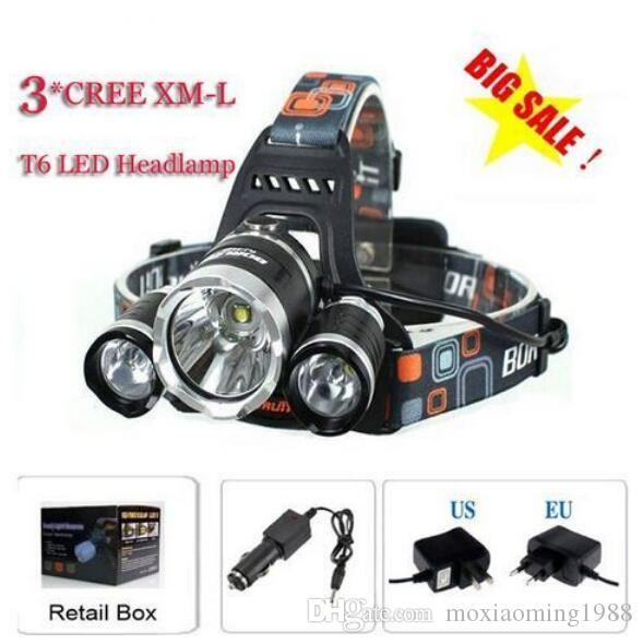 3T6 Headlamp 6000 Lumens 3 x Cree XM-L T6 Head Lamp High Power LED Headlamp Head Torch Lamp Flashlight Head +charger+car charger Free Ship