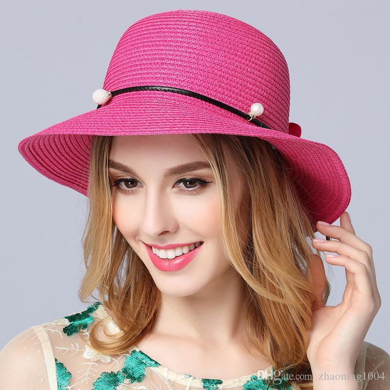 95d4e0add4873 Designer Ladies Wide Brimmed Beach Visors With Handmade Flower ...