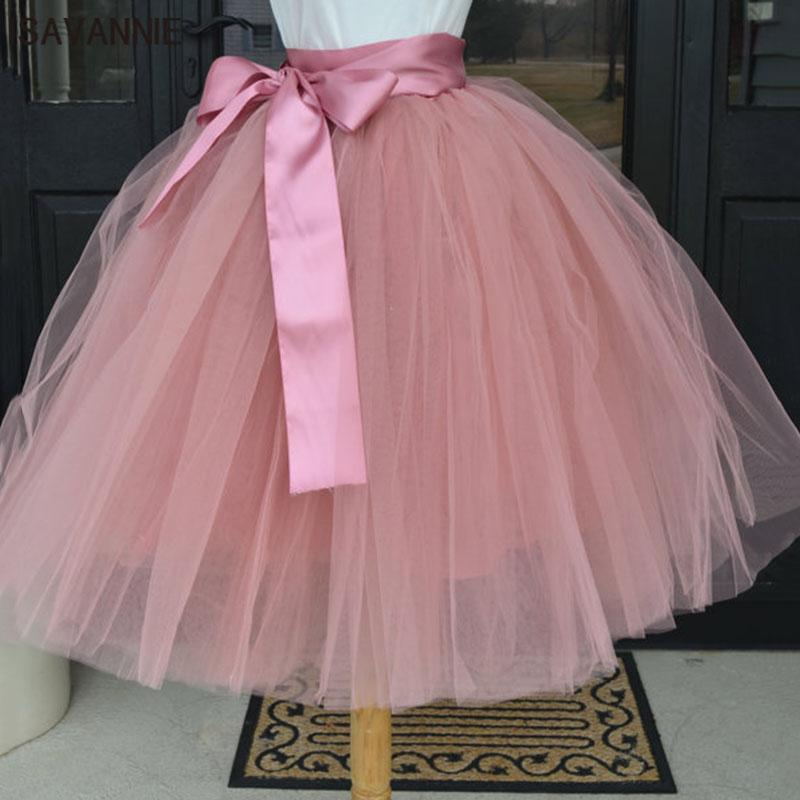 6de8de06c6ca4 2019 Wholesale Puffy 6 Layer Tulle Skirt Pleated Tutu Skirts Womens Elastic  Belt Faldas High Waist Mid Calf Knee Length Plus Saia Jupe From Yuanbai