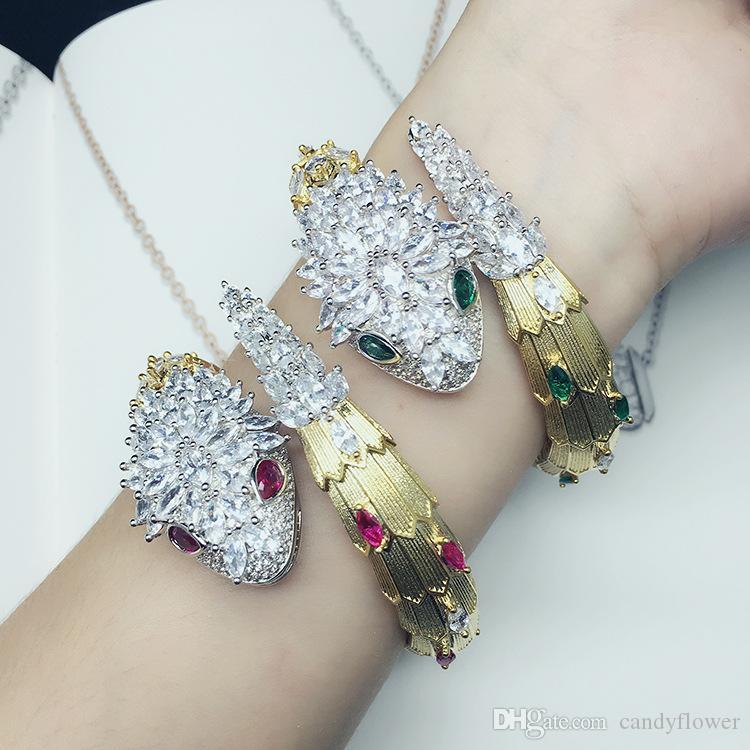 Новый дизайнер высокое качество красная / зеленая змея CZ алмаз проложил животных браслет-манжета браслет из 18-каратного золота PUNK ювелирные изделия для женщин