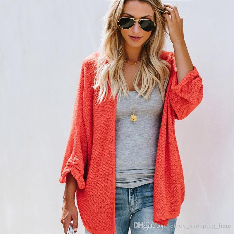 Großhandel Hohe Qualität Frauen Pullover Strickjacke Casual Fledermaus Lange  Ärmel Lose Plus Größe Xl Blaue Pullover Für Mädchen Stricken Kleidung Von  ... ca4056db72