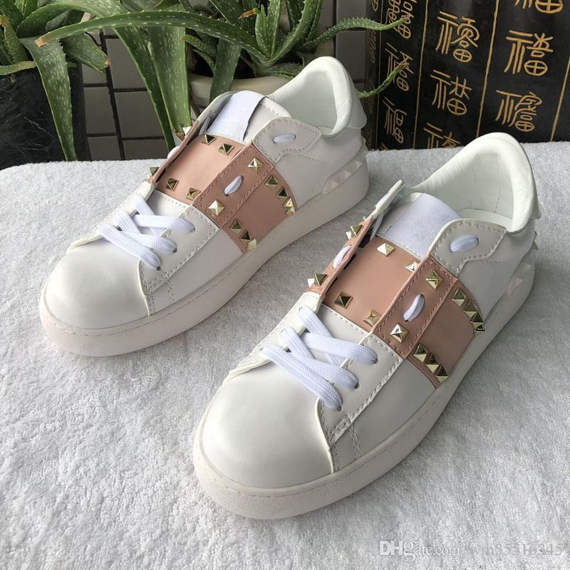 new leather shoes for women, color matching rivets adornment casual shoes, handmade flat heel lovers walking shoes fashion designer