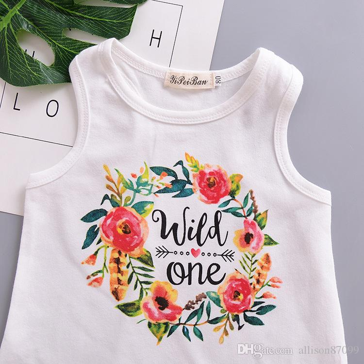 Wild One Letters Florals dresses for baby girl Tassels Tank Beach dress Sundress 2019 Summer 100%cotton 1T 2T 3T 4T wholesale