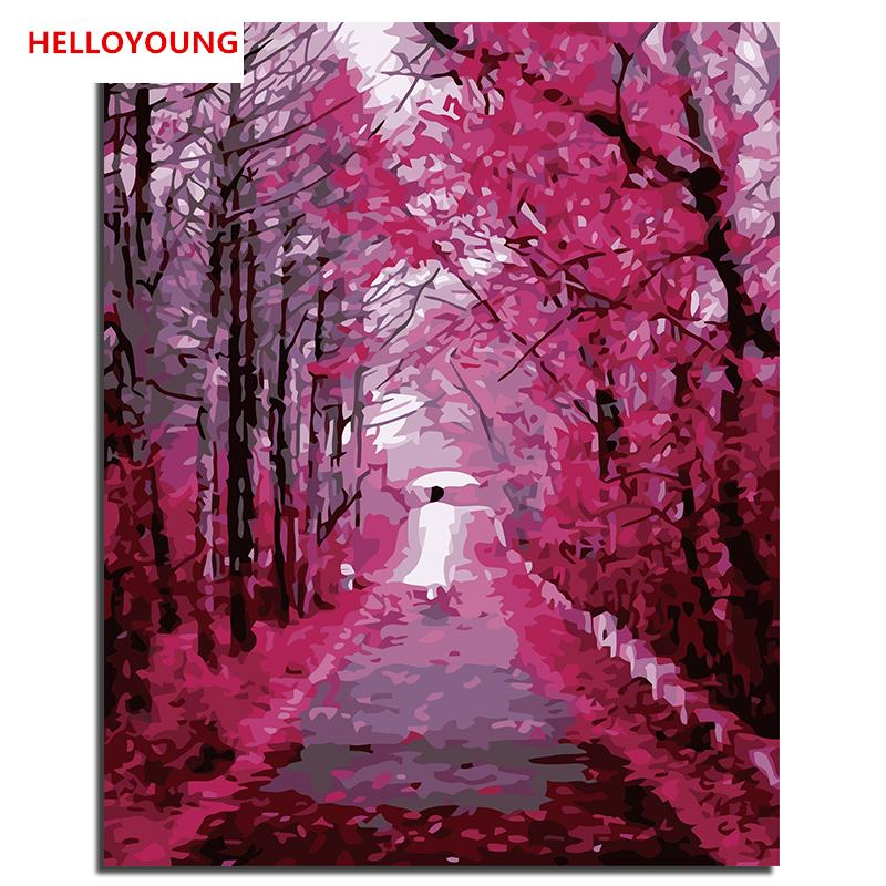 HELLOYOUNG Handpainted Oil Painting Passing leafs Digital Painting by numbers oil paintings chinese scroll paintings Home Decor