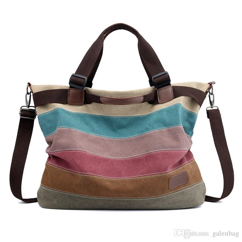 51a4b434bc Vintage Rock Washed Canvas Stripes Shopping Tote Bag Daily Top Quality  Cheap Crossbody Shoulder Bag Zippered Leather Purse Womens Purses From  Galenbag