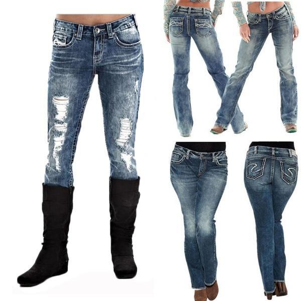 2019 2018 Retro Fashion Women Lady Casual Distressed Stretch Denim Jeans  Blue Pants Denim Jeans From Milhannnn 5d74b156855c8