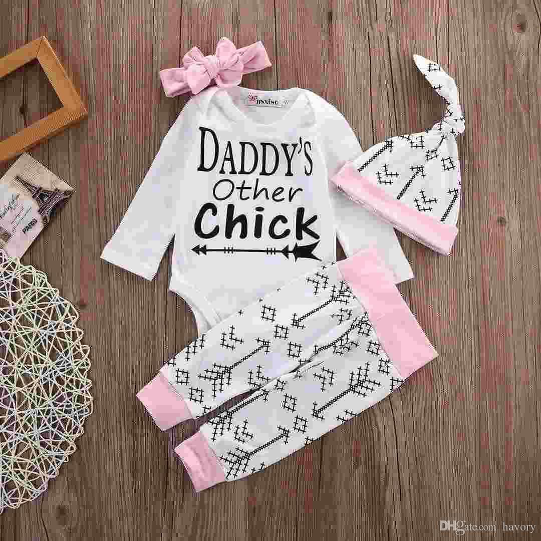 85f743921 Newborn Baby Girls Boys Clothes Set Chick Tops Romper Long Sleeve ...
