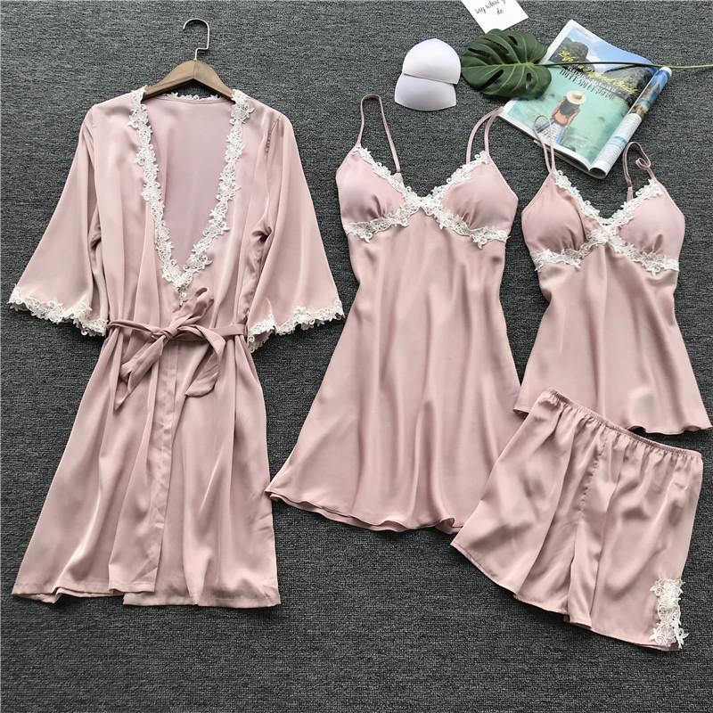 2019 Silk Pajama Set Sleeping Suit Women Sleepwear For Girl Sleep Pajamas  1597 From Kuaikey afb9f5702